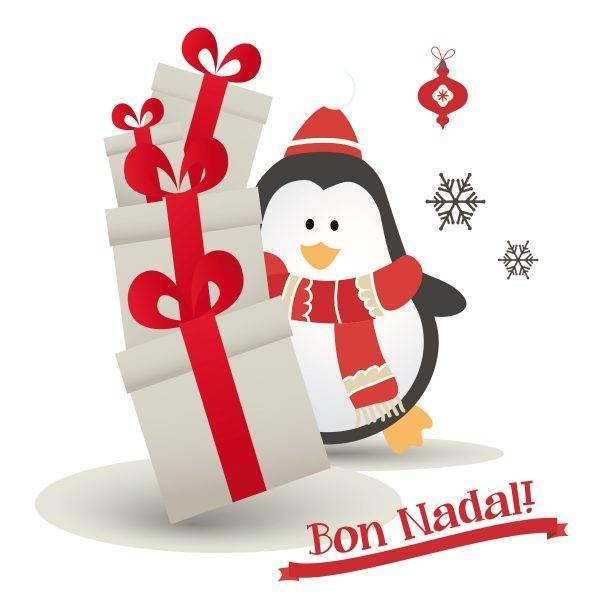Il·lustració d'un pingüí nadalenc molt divertit amb bufanda, gorro i regals per ficar a qualsevol finestra, aparador o vinil de la teva llar o del teu negoci.